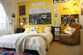 Cool Teenager Bedroom Decorating Inspiration With Sunny Yellow Wall