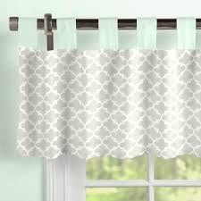 French Gray And Mint Quatrefoil Window Valance Tab-Top | Carousel Designs a