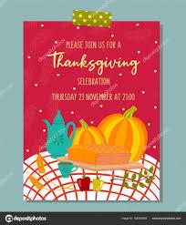 Pumpkin Invitations Template Vector Thanksgiving Invitation Template Stock Vector Zhannamay27