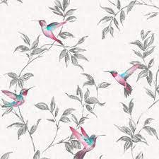 Fine Décor Grey Birds Glitter Effect ...