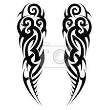 Fototapeta Vektorové Kmenové Tetování Design Náčrtek Obruba Umění Abstraktní