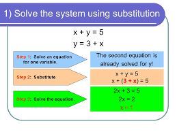 1 solve the system using substitution x y 5 y 3