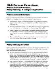 parenthetical citation in mla format exercise 2 parenthetical citations paraphrasing integrating quotes