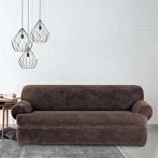 sure fit t cushion sofa slipcover sure fit stretch plush chocolate t cushion sofa slipcover sure