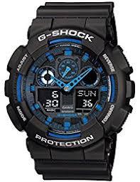 amazon com luminous wrist watches watches clothing shoes casio g shock ga100 1a2 ana digi speed indicator black dial men s watch