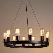 edison lamp wooden chandelier crafted of iron with an industrial style black finish our model 16