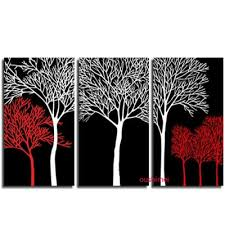 white red tree wall painting oil art