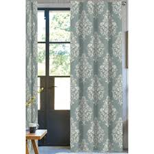 Designer Drapery Panels A1 Home Collections 50 In W X 108 In L Designer Organic Cotton Damask Drapery In Green White