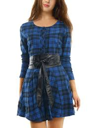 Allegra K Clothing Size Chart Allegra K Women Plaids Long Sleeves Single Breasted Belted A Line Dress