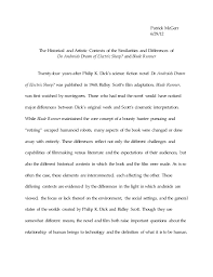blade runner essay draft  blade runner essay draft 2 patrick mcgerr 6 29 12 the historical and artistic contexts of the similarities and