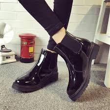 whole brand plus size 40 women ankle boots flat heels casual shoes woman patent leather boots school style for girls black motorcycle