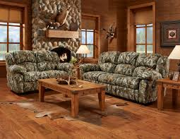 Living Room Furniture Set Mossy Oak 3pc Camouflage Reclining Sofa Set W Recliner Hunting