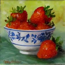 oklahoma daily painters strawberries in blue and white bowl