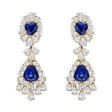 estate van cleef arpels sapphire diamond chandelier earrings