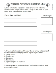 Cub Scout Meal Planning Chart Pin On Cook