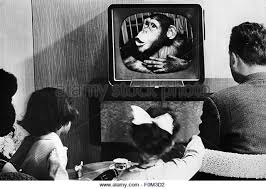 black kids watching tv. family watching tv, 1950s - stock image black kids tv n