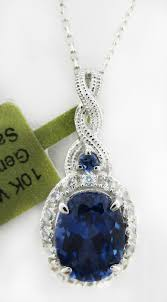 details about genuine 2 48 cts blue sapphire white sapphires pendant 10k white gold nwt