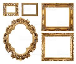 Set of five gold frame designs royalty-free stock photo