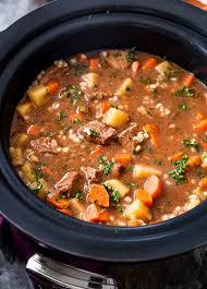 crockpot beef barley soup the chunky chef