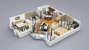 3d two bedroom house plans bedroom