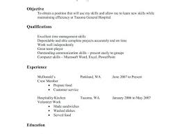 Resume Food Service Resume Objective Examples Fast Sample Skills