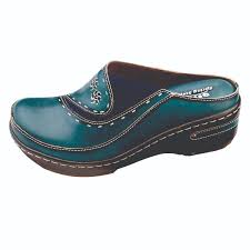 women s open back hand painted leather clogs 0