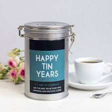 personalised anniversary coffee gift tin