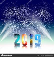 2019 Happy New Year Greeting Card Colorful Fireworks Vector Design ...