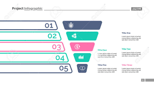 Funnel Diagram With Five Steps Process Chart Slide Template
