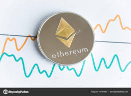 Ethereum Graph Chart Gold Ethereum Cryptocurrency Coin On Spiking Line Graph