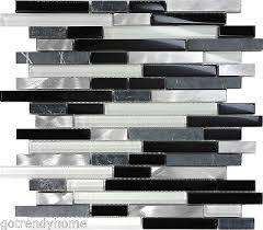 black gray glass natural stone metal linear mosaic tile kitchen backsplash