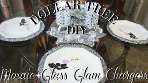 diy dollar tree glam mosaic glass charger plates table decor