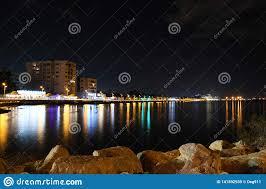 Special Lights Larnaca Cyprus Larnaca Promenade At Night Editorial Stock Image