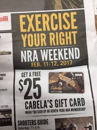 cabela s free 25 gift card w nra membership northeastshooters forums