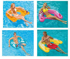 intex 58859ep sit n float classic inflatable raft swimming pool lounge chair set with mixed of orange yellow pink blue color set of 4