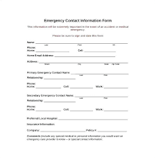 Employment Emergency Contact Form Personal Information Template Agarvain Org