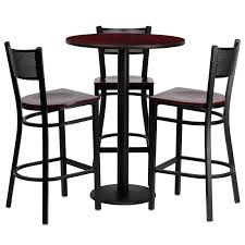 30 round laminate table set with 3 grid back metal bar stools 3 styles available