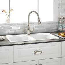 32 Berwick Double Bowl Cast Iron Drop in Kitchen Sink White Kitchen