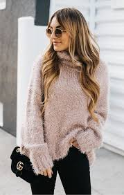 Fantastic long sleeve outfit winter ideas Distressed Jeans winter outfits Gray Fur Longsleeve Sweater With Black Pants Pinterest 100 Fantastic Winter Outfits To Inspire You Winter Style Winter