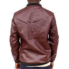 men s leather jacket maroon