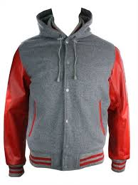 mens grey college baseball red real leather arms er hooded jacket varsity s about this almost gone picture 1 of 1