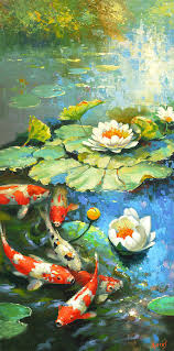landscape painting water lily or solar pond by dmitry spiros
