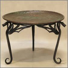 modern wrought iron copper glass top coffee table