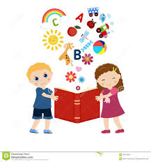 children holding a book imagination concept open book with children s icons flying out stock