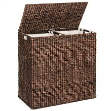 Water Hyacinth Double Laundry Hamper - Espresso