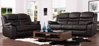 contour espresso brown reclining 3 2 seater leather sofa set