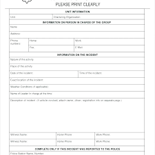 Motor Vehicle Accident Form Template Car Incident Report