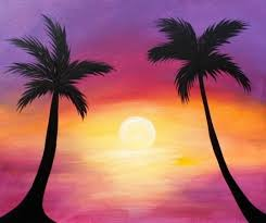 vibrant sunset with palm trees in silhouette original acrylic