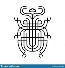жук скарабея тату иллюстрация запаса вектора изолированная на белой