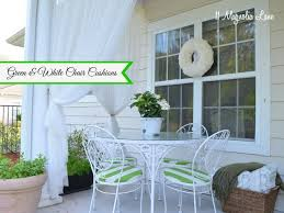 green white striped seat cushions on